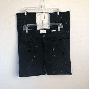 FRAME Le High Straight Jet Stone Frayed Jeans